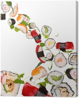 Sushi pices flying on white background Canvas Print