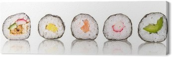 Sushi pieces collection, isolated on white background Canvas Print