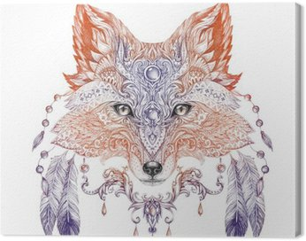 Canvas Print Tattoo, portrait of a wild fox
