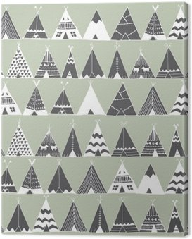 Canvas Print Teepee native american summer tent illustration.