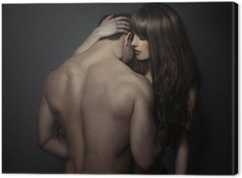 Canvas Print Tender romantic young lovers