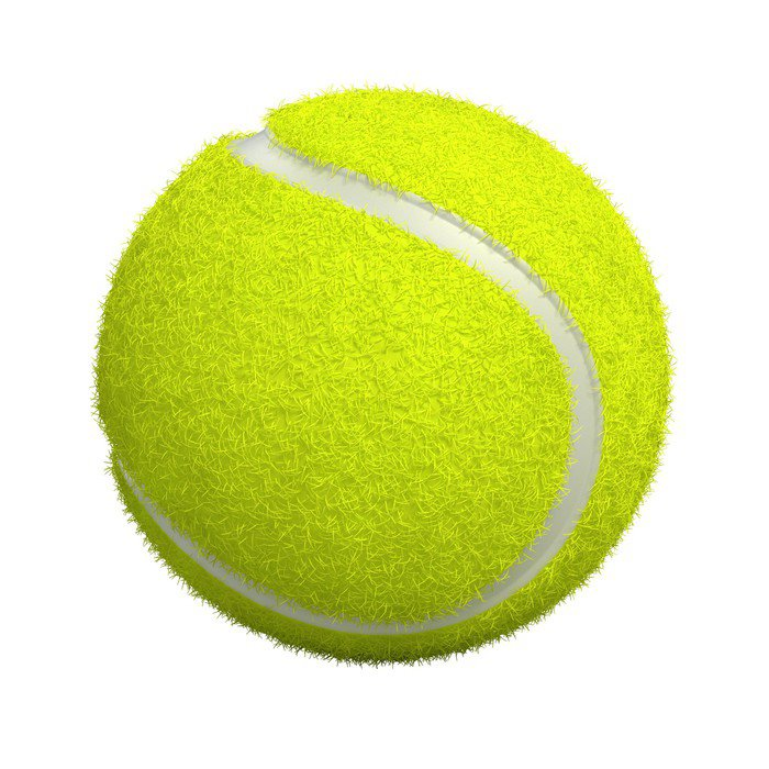 Canvas Print Tennis ball isolated on white - 3d render - Sports Items