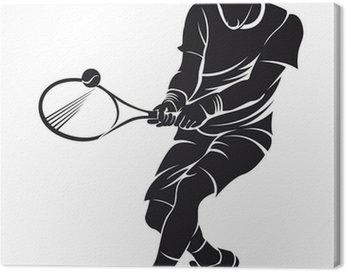 Canvas Print tennis player, silhouette