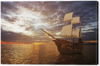 Canvas Print The ancient ship in the sea