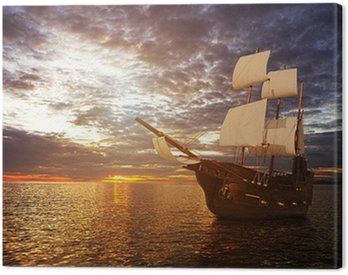 The ancient ship in the sea