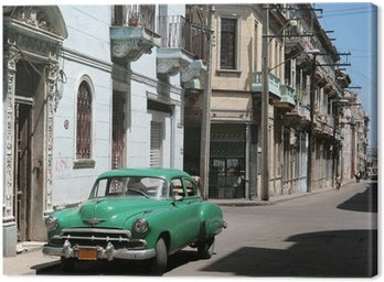 the car is parked in old havana downtown Canvas Print