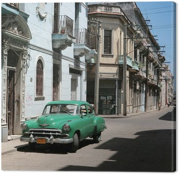 Canvas Print the car is parked in old havana downtown