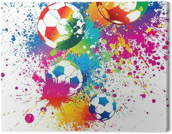 Canvas Print The colorful footballs on a white background