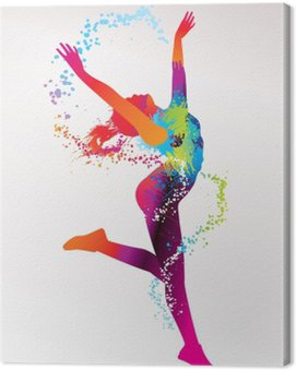 Canvas Print The dancing girl with colorful spots and splashes on a light bac