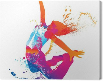 Canvas Print The dancing girl with colorful spots and splashes on white