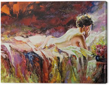 Canvas Print The naked girl laying on a bed