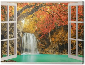 Canvas Print The open window, with waterfall views