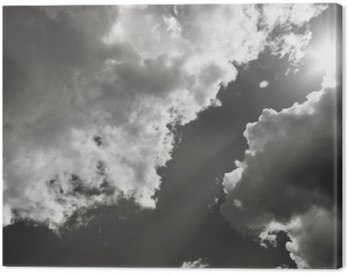 The Sun Breaks Through The Clouds. Black And White Photo