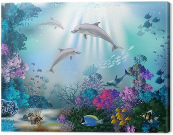 Canvas Print The underwater world with dolphins and plants
