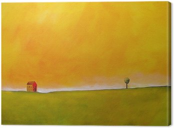 Canvas Print this is an abstract painting of a farm scene