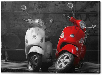 Canvas Print This is two motorcycles in the city.