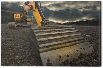 Canvas Print threatening excavator