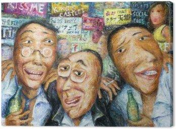 Three drunk alcoholic men drinking partying nightlife in Bangkok Canvas Print