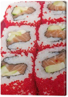 Tobiko Spicy Maki Sushi - Hot Roll with various type of Tobiko ( Canvas Print