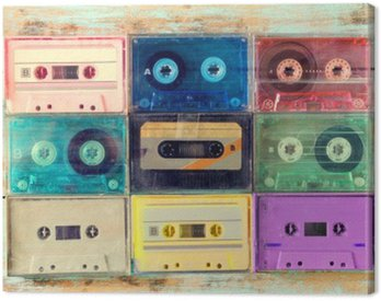 Canvas Print Top view (above) shot of retro tape cassette on wood table - vintage color effect styles.