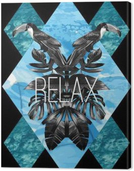 Canvas Print Toucan, graphic leaves and blue sea mirror print