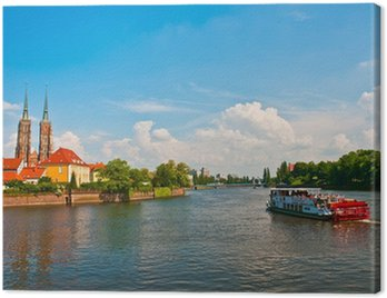 Canvas Print Touristic sailing on the Odra river, Wroclaw, Poland