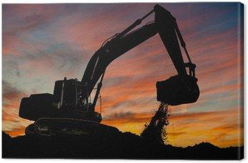 Canvas Print track-type loader excavator at work