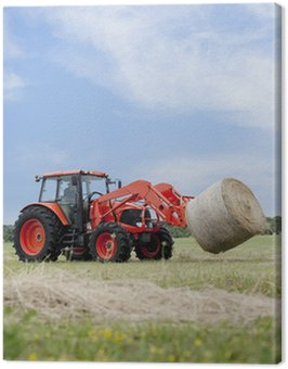 Tractor Hauling Round Bale Canvas Print