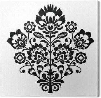 Canvas Print Traditional polish folk pattern in black and white