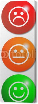 Canvas Print Traffic Light buttons with smileys