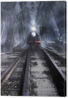train rides over the bridge