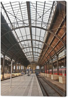 Canvas Print trainstation, glass of roof gives a beautiful harmonic structure