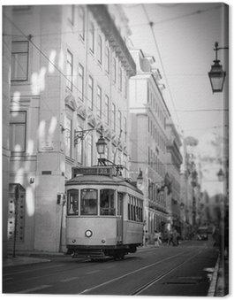 Canvas Print Tram in Lisbon, retro