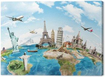 Canvas Print Travel the world monument concept