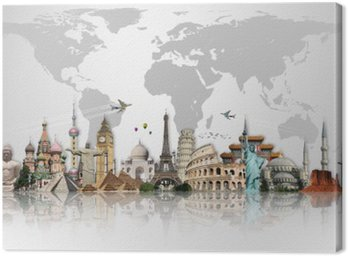 Canvas Print Travel the world monuments concept