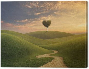 Canvas Print Tree heart on hill