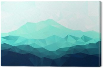 Canvas Print Triangle geometrical background with blue mountain