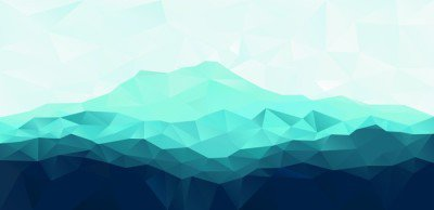 Triangle geometrical background with blue mountain