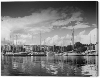 Trondheim pier in black and white