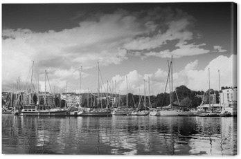 Canvas Print Trondheim pier in black and white