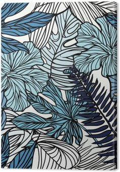 Tropical exotic flowers and plants with green leaves of palm. Canvas Print