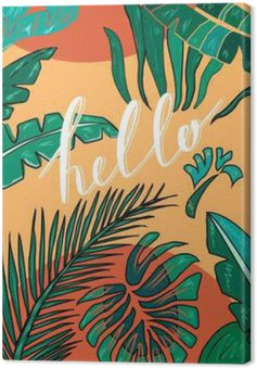 """Tropical hand drawn background with lettering """"Hello"""". Tropic leaves. Vector"""