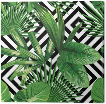 tropical palm leaves pattern, geometric background Canvas Print