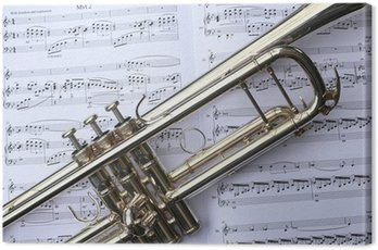 Canvas Print Trumpet on Sheet Music