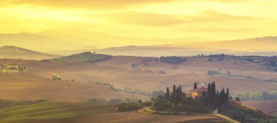 Tuscan autumn landscape,retro colors, vintage