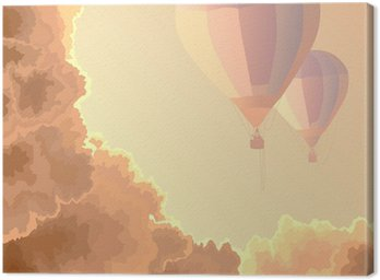Canvas Print Two air balloons, sky and clouds.