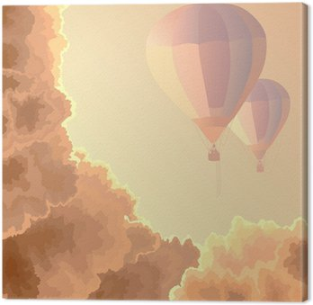 Two air balloons, sky and clouds.