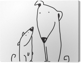 Canvas Print Two cartoon brown dog parent and kid