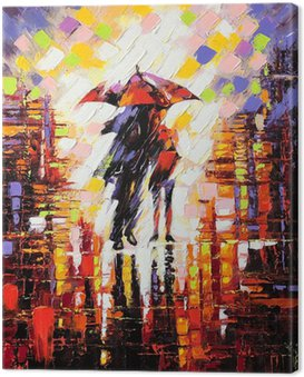 Canvas Print Two enamoured under an umbrella