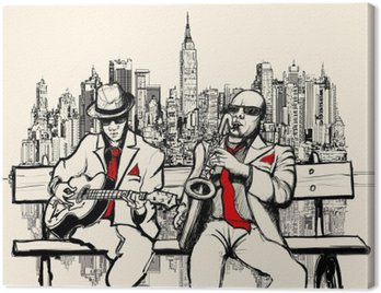 Canvas Print two jazz men playing in New York